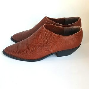 9 Faux Snake Skin Ankle Booties Brown Shoes